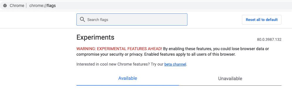 Google Chrome Flags on Screenshot